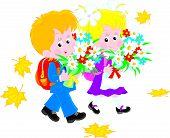 Schoolboy and schoolgirl first-graders