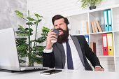 Singing Businessman. Businessman Sing Song At Workplace. Businessman Hold Coffee Cup As Microphone.  poster