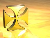 3D Maltese Cross Gold Sign