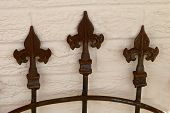 Rusted Wrought Iron Gate Post Tops