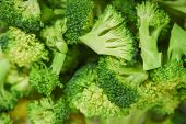 Vegetable Healthy Green Organic Raw Broccoli Florets Ready For Cooking Food / Close Up Slice Broccol poster