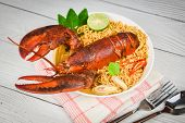 Noodles Bowl Lobster Spicy Soup / Cooked Seafood With Instant Noodles Soup Lobster Dinner Table And  poster