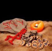 Runes, Pouch And Candle With Copy Space