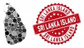 Mosaic Sri Lanka Island Map And Round Stamp. Flat Vector Sri Lanka Island Map Mosaic Of Scattered Ro poster