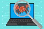 Virus Computer Destroying Laptop. Magnify Glass Found Virus On Laptop. Problem With Laptop. Virus At poster