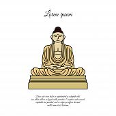 Buddha Statue Icon Vector.  Sign For Mobile Concept And Web Design. Buddha In Meditation Position Ou poster