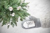 Gray Glove, Tree, Silver Ball, Text Thank You, Snowflakes poster