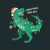 Tyrannosaurus Christmas Tree Rex Card. Dinosaur In Santa Hat Decorates Christmas Tree Garland Lights poster