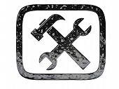 Settings Symbol Black Crome Button