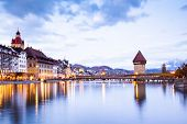 beautiful historic city center of Lucerne with famous buildings and lake Lucerne (Vierwaldstattersee poster