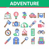 Adventure Collection Elements Icons Set Vector Thin Line. Binocular And Camera, Map And Boat, Ax And poster