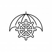 Black Line Icon For Marine-insurance Marine Insurance  Marin Cargo poster