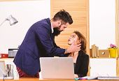 Intimacy Between Coworkers. Romantic Love Of Bearded Man And Sexy Woman In Office. Romantic Couple C poster