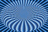 Abstract Background Blue Spheres That Are Drawn Into An Infinite Hole poster