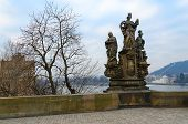 Sculptural Compositions Of Charles Bridge, Prague, Czech Republic. Saints Barbara, Margarita And Eli poster
