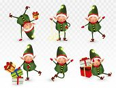 Set Of Cute Christmas Elves. Santa Claus Helpers. Little Beautiful Elves. Happy New Year.elves With  poster