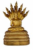 Golden Buddha Sitting In Lotus Position On A Throne With Seven Heads Of Naga Isolated On A White Bac poster