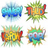 A Selection of Comic Book Exclamations and Action Words, Shiver, Thud, Ka-pow, Pop.
