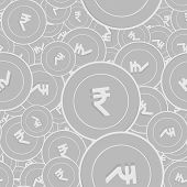 Indian Rupee Silver Coins Seamless Pattern. Attractive Scattered Black And White Inr Coins. Success  poster