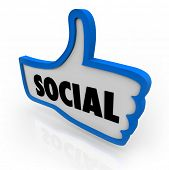 The word Social on a blue thumb's up symbol to illustrate a social network or other formate for onli