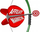 The words Affiliate Marketing on an arrow being aimed with a bow toward a target bulls-eye, represen