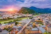 Aerial View Of Salzburg Old City At Sunrise , Salzburg Cityscape View, Austria poster