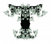 Capital letter T from flowers in vector.