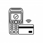 Nfc Payment Vector Outline. Contactless Payment Machines With A Credit Card. Contactless Payment Ico poster