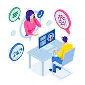 Isometric Customer Service. Customer And Operator. Customer Service Agent Sitting At The Office. Onl poster