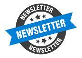 Newsletter Sign. Newsletter Blue-black Round Ribbon Sticker poster