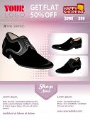 Professional product flyer or banner template of man's shoe with attractive discount offers for prom