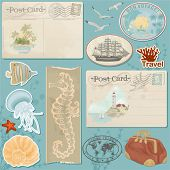 Vector scrapbook collage from sea elements for traveler