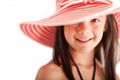 Summer girl with a hat - isolated over a white background