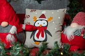 Decorative Pillows With Christmas Toys. Penguin, Christmas Pattern On Pillows. poster