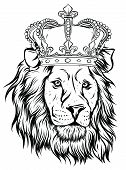 Vector Illustration The Lion King, The Head Of A Lion In The Crown, On A White Background. poster