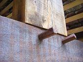 Dowel jointed oak beams