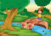 stock photo of gril  - Illustration of a gril crying ona  bridge - JPG