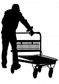 drawing of a man with a trolley