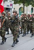 ZURICH - AUGUST 1: Swiss Infantry division taking part in Swiss National Day parade on August 1, 200