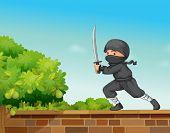 Illustration of a ninja in black