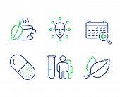 Mint Tea, Medical Analyzes And Capsule Pill Line Icons Set. Medical Calendar, Face Biometrics And Mi poster