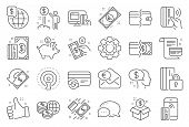 Money Wallet Line Icons. Update Credit Card, Contactless Payment And Piggy Bank Linear Icons. Online poster
