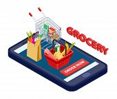 Online Grocery Concept. Vector Mobile App For Grocery Store With Food, Vegetables, Fruits. App Deliv poster