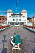 Penarth Pier And Pavilion And Penarth Pier In Summer 2019 With Beautiful Flowers Hanging On The Vict poster