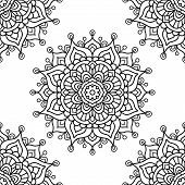 Mandala. Coloring Page. Vector Seamless Pattern With Ethnic Tribal Mandala. Hand Drawn Doodle Flower poster