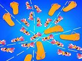 Travel Concept. Flip Flops With Flags On Blue Background