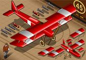 Isometric Red Biplane Landed In Front View