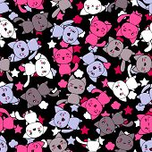 stock photo of kawaii  - Seamless pattern with cute kawaii doodle cats - JPG