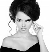 Portrait Of Young Beautiful Woman With Jewelry, Black And White Photo