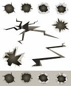 stock photo of gunshot  - Illustration of a set of bullet holes slashes earthquake cracks and various gunshot impact hollows - JPG